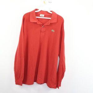 Lacoste Long Sleeve Golf Polo Shirt Reddish Orange